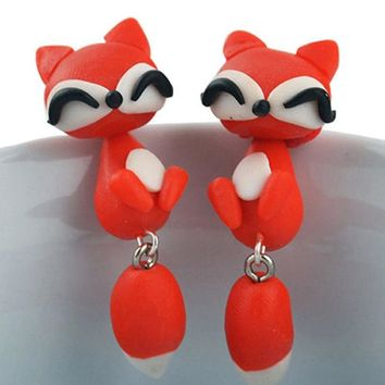 2017 lovely cute 100% handmade polymer clay cartoon pierced ear stud earrings for women brincos 3D New Fox