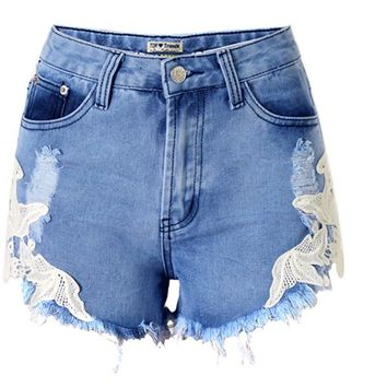 high waist lace hot beach vacation bohemian wind Europe and the United States broken denim shorts ladies hot pants