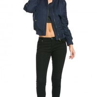 Industrial Puffy Bomber Jacket in Navy Blue