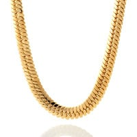 King Ice 14K Gold Thick Herringbone Chain