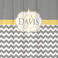 "Shower Curtain Cool Gray Chevron Monogram and Name YOU PICK Accent COLOR 69x70"" Custom Personalized for your Bathroom"