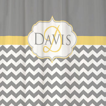 Shower Curtain Cool Gray Chevron Monogram And Name YOU PICK Accent COLOR 69x70 Custom Personalized