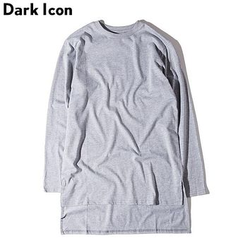 Front Short Back Long Solid Hip Hop T shirt Men Autumn  Long line Basic Men T-shirt Men Long Sleeve Extended Tee Shirts Men