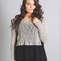 Date Night Sheer Knit Top-Plus Size