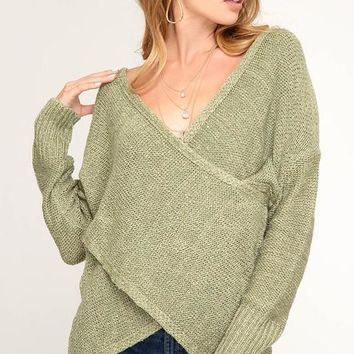 Love Me More Long Sleeve Surplice Sweater Top (Olive)