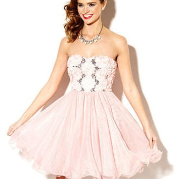 Speechless Juniors Dress, Strapless Rosette Tulle - Juniors Prom Dresses - Macy's
