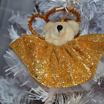 Angel  Bear Christmas Tree Ornament,  Angel Ornament, Teddy Bear Ornament, Bear Holiday Ornament, Gold Teddy Bear Angel Tree Ornament