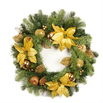 "24"" Pre-Decorated Gold Poinsettia  Apple and Berry Artificial Christmas Wreath - Unlit"