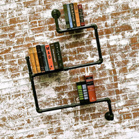 Bookshelf Industrial Pipe Level 2 by stellableudesigns on Etsy
