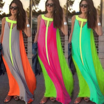 Four Colors Women's Fashion Summer Beach Long Dress Evening Cocktail Party Celebrity Gown O Neck Maxi Sexy Skirt = 1945781828