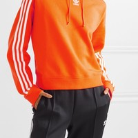 ADIDAS ORIGINALS Cropped striped cotton-terry hoodie