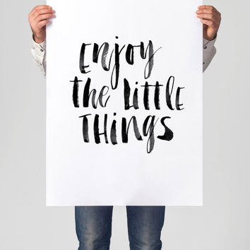 "Printable Art Inspirational Print ""Enjoy the Little Things"" Typography Quote Home Decor Motivational Poster Scandinavian Design Wall Art"