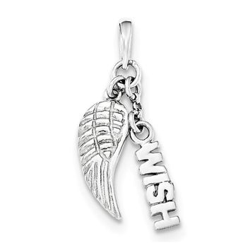 Sterling Silver Polished & Textured Wish W/angel Wing Pendant