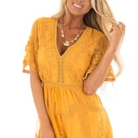 Mustard V Neck Lace Romper with Zip Up Back