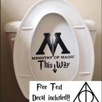 Harry Potter Decal Ministry Of Magic inspired Toilet Sticker Funny Harry Potter Toilet Decal or Bathroom Wall Sticker