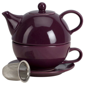 Tea for One w/ Infuser Set, Aubergine, Tea Cups & Saucers