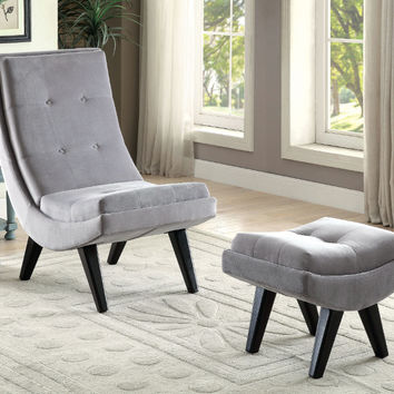 Furniture of america CM-AC6839GY 2 pc Esmeralda gray flannelette fabric mid century modern accent chair and ottoman