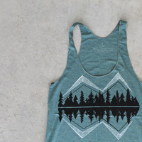 SALE Crater Lake - women's tank top | racer back tank - mountain print on moss green - ladies top - camping shirt by Blackbird Tees