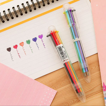 6 in 1 Multi Color Ballpoint Pen - 0.5 mm (1 pc) Korean Stationery Kawaii Colorful Ink Pens TZ097