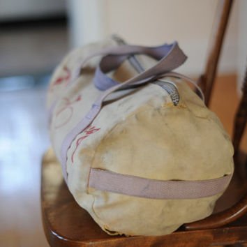 Vintage USA Distressed Canvas Athletic Duffle Bag