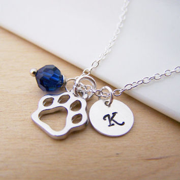 Paw Print Dog Cat Animal Pet Charm Swarovski Birthstone Initial Personalized Sterling Silver Necklace / Gift for Her
