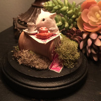 Tea for One Mouse Taxidermy Cloche Dome Setup Diorama with Antique Stamps and Miniature Tea Set