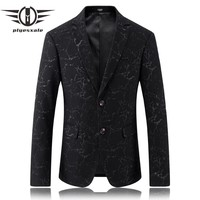 Men Blazer Designs Black Wedding Blazers For Men Slim Fit Men Printed Blazer Luxury Stage Wear Casual Coat