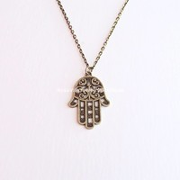 Bronze Hamsa Hand Necklace - also available in silver