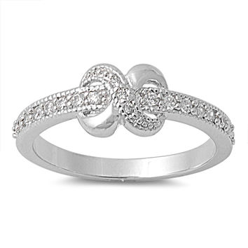 925 Sterling Silver CZ Promise Knot Infinity Ring 7MM