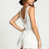 White Crochet Wrapped Romper - LoveCulture