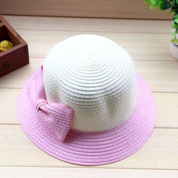 LMF78W High Recommended Bowknot Straw Beach Baby Girls Sun Hat Bucket Fashion Children Cap 5 Colors