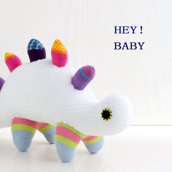 Stuffed Dinosaur, Stuffed Animal, Handmade  sock doll baby stuffed toys, white, from Enchanted Forest   Ready to Ship