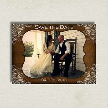 Rustic Barn Vintage Lace Wedding - Save the Date Card