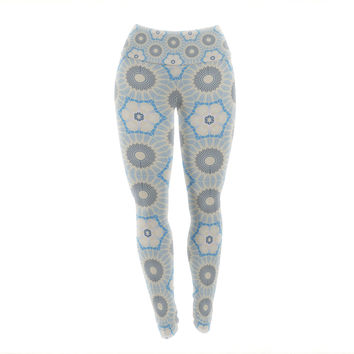 "Angelo Cerantola ""Satori"" Beige Blue Yoga Leggings"