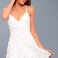 Magnolia Blossom White Lace Skater Dress