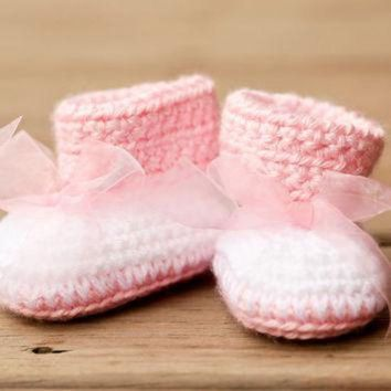 DCCK8X2 Crochet Baby Booties - Baby Boots - Big Bow Baby Pink and White Baby Shoes - Pink Baby