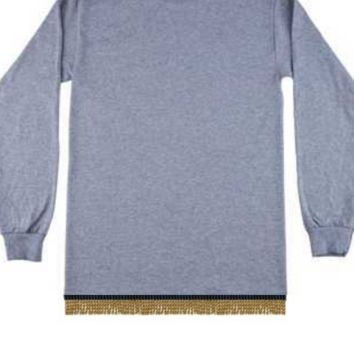 Plain Gray Long Sleeve T-shirt With Fringes