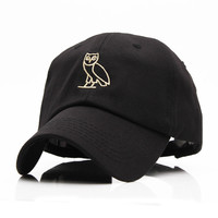 High Quality Outdoor Visor black Strapback OVO Drake Hotline Bling hats 6 panel snapback POLOs baseball cap GOLD OWL DENIM HAT