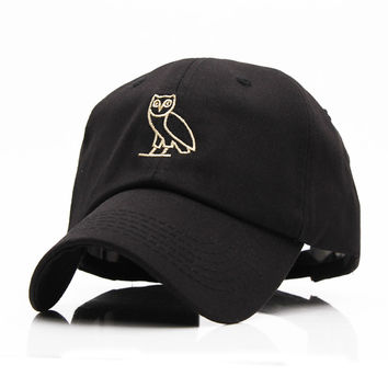 High Quality Outdoor Visor Black Strapback OVO Drake GOLD OWL DENIM HAT