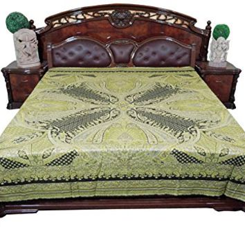 Mogul Pashmina Wool Bed Throw Moroccan Green Bedding Coverlet Sheet