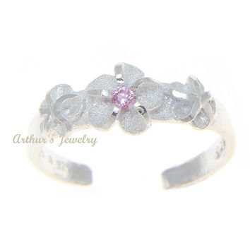 925 STERLING SILVER 3 HAWAIIAN PLUMERIA FLOWER TOE RING PINK CZ