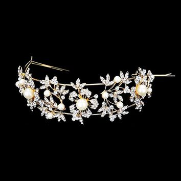 Clustered Floral & Pearl Crystal Accent Bridal Headpiece