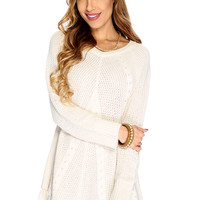 Casual Cute Light Beige Knitted Floral Lace Hem Sweater Dress