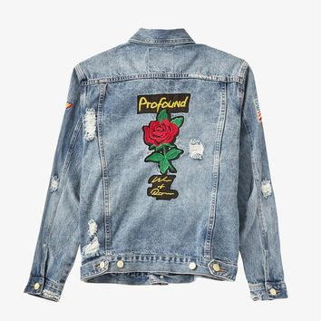 Distressed Rose Patch Denim Jacket