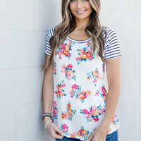 Floral and Stripes Tunic