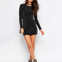 Rare | Rare Body-Conscious Dress in Glitter Fabric with Scoop Back at ASOS