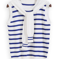 Blue Striped Sleeveless Knit Top