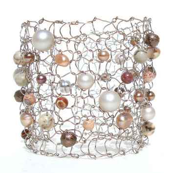 Big Pearl Cuff Bracelet Statement Jewelry Wire Knit Natural Stone Peach Sepia Oyster Arm Cuff
