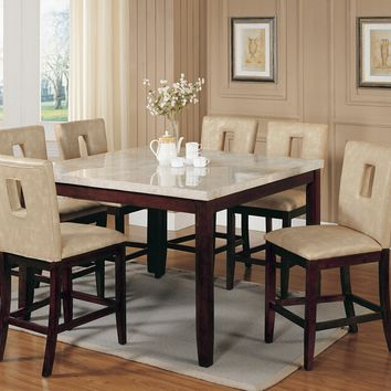 Acme 17059-16777 7 pc britney marble top walnut finish wood counter height dining table set