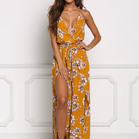 Mustard Floral Double Slit Wrap Jumpsuit